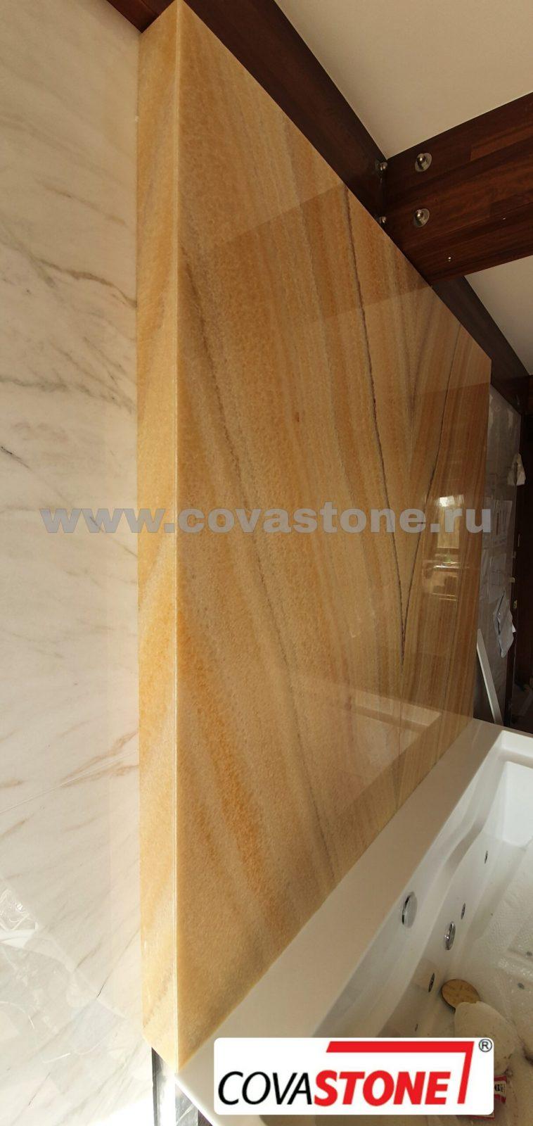 Камень жёлтый оникс отделка стены (пано)